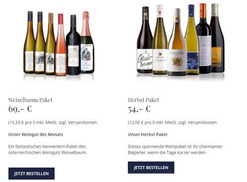 Onlineshop Weinpakete Weinlieferant